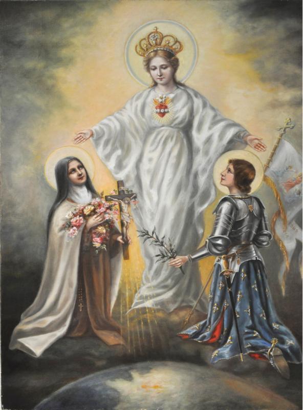 TABLEAU la Sainte Vierge, ste Jeanne d'Arc et ste Thérèse